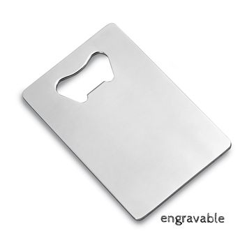 Stainless Steel Credit Card Wallet Sized Bottle Opener - Engravable
