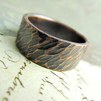 Rustic Wedding Band,14k Rose Gold, Men's Ring, Oxidized Antique Patina, Bridal, Hammered Metalwork Jewelry, 8mm