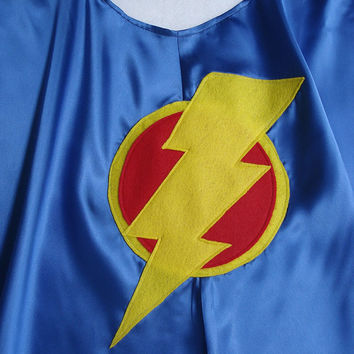 Children's Custom Made Handmade Super Hero Lightening Bolt Cape for Boys and Girls