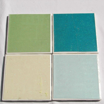 4 Tile Coasters in Summertime Glitter Theme(Scented)