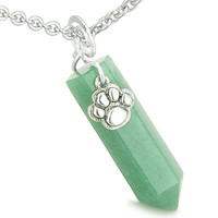 Amulet Lucky Wolf Paw Crystal Point Charm Green Quartz Pendant 22 Inch Necklace