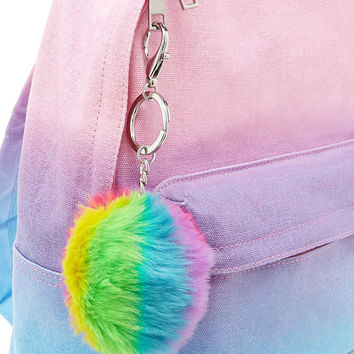 Rainbow Faux Fur Keychain