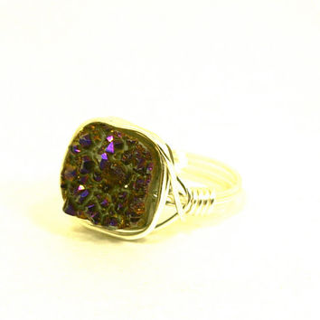 Square Druzy Ring Merlot Wine Purple Quartz Titanium Crystal Silver Plated Wire Wrapped Size 7