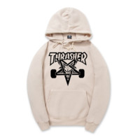 Khaki Thrasher Printed Unisex Hoodies Sweatershirt