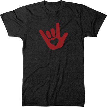 ASL I Love You Sign Language Mens Modern Fit Tri-Blend T-Shirt