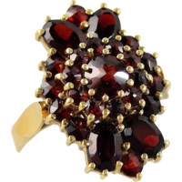 Unusual and massive 18K gold ring with natural garnets, stamped solid gold, heavy statement ring