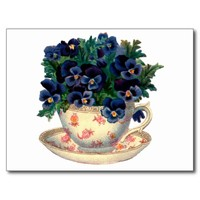 Flowers in a Teacup Vintage Art Postcard