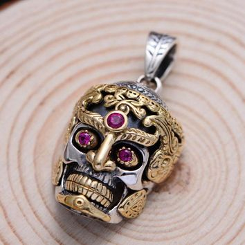 925 Sterling Silver Large Skull Pendant For Men Jewelry Vintage Punk Rock With Natural Red Corundum