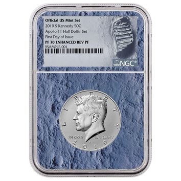 2019-S Kennedy Half Dollar Enhanced Reverse Proof NGC PF-70 (Apollo 11, First Day of Issue Moon Core)