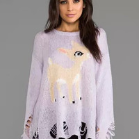 Purple Deer Print Ripped Sweater