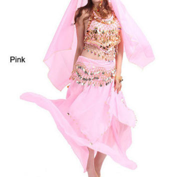 2014 new belly dance India dance costume suits performing service upscale exercise suits T007-Pink