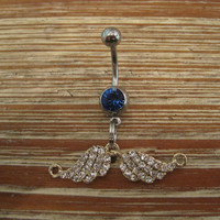 Belly Button Ring - Body Jewelry - Angel Wings with Dark Blue Gem Stone Belly Button Ring