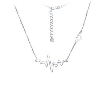 Sterling Silver Heartbeat Necklace with Heart Shaped Accent