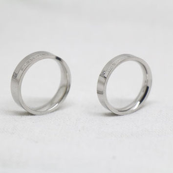 2pcs-Silver Ring - Free Engraving,Wedding Couple Rings, Lovers rings, his and hers promise ring sets , wedding rings, valentine's gift