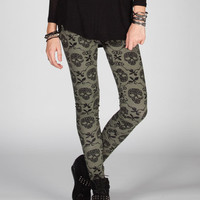 Full Tilt Baroque Skull Womens Leggings Olive  In Sizes