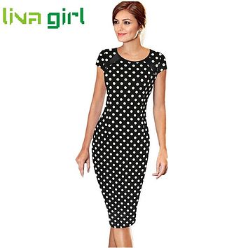 Summer Work Bodycon Short Sleeve Dot Printed Knee Length Dress Women Sexy Office Lady Party Cocktail Pencil Dress Vestido Feb21