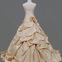 A-line/Princess Strapless Cathedral Train Taffeta  Wedding Dresses With Sashes Embroidery Beading