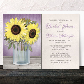 Sunflower Bridal Shower Invitations Purple - Yellow Floral in a Mason Jar over Purple with Beige - Cottage Chic design - Printed Invitations