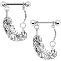 "14 Gauge 5/8"" Stainless Steel Fine Feather Nipple Ring Set"