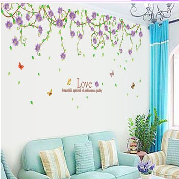 New purple flower cane sitting room bedroom home decoration wall stickers in the wall to stick on the wall SM6