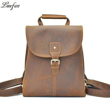 Women vintage crazy horse Leather backpacks Laptop Men genuine leather rucksack iPad casual flap Cow leather school bag