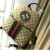 GUCCI Trending Women Men Stylish Shoulder School Bag Zipper Bookbag Backpack Khaki I-WXZ2H