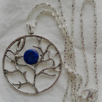 Lapis Lazuli Tree of Life Blue Moon Woman's Pendant Antique Silver Pendant Gemstone w Chain Perfect Gift for Mother's Day Nature Lover