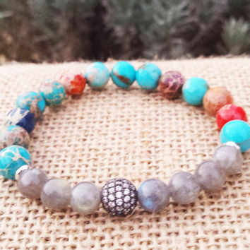 MEN Labradorite Bracelet, Zirconia Micro Pave  Beaded Bracelet, Inspirational Men  Bracelet Boyfriends Father Husband Gifts For Him