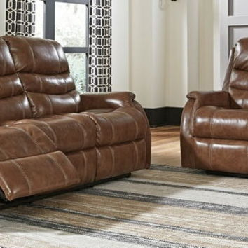 Ashley Furniture 50903-15-14 2 pc Medcalf collection nutmeg leather match upholstered sofa and love seat set with power recliners