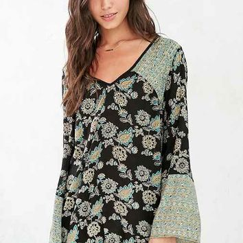 Ecote Mixed Print Bell-Sleeve Frock Dress