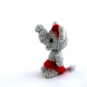 mini elephant, crochet ballerina elephant, miniature elephant, little elephant, amigurumi tiny elephant, circus, small elephant grey red
