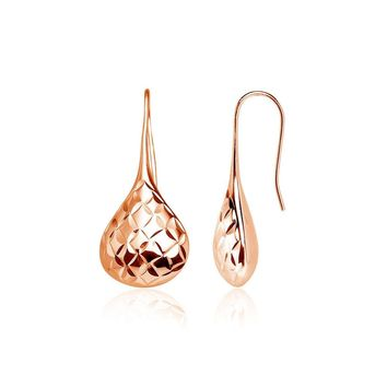 Rose Gold Flashed 925 Silver Diamond-Cut Pear Shape Lotus Polished Drop Earrings