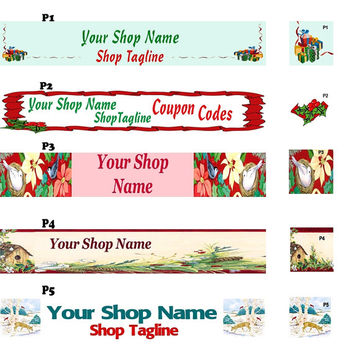 HOLIDAY Banner & Avatar For Your Etsy Shop - OOAK Original Design