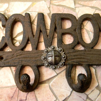 Cowboy Cross Cast Iron Wall Hook, Western Boys Room Decor, Wall Art Cowboy Custom Christian Baptism Confirmation Gift, Rustic Wall Art
