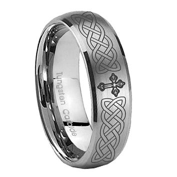 8MM Classic Satin Silver Dome Celtic Cross Tungsten Laser Engraved Ring