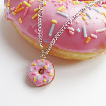 Donut necklace, doughnut necklace, polymer clay donut, miniature food, food necklace, gift for her, Mother's Day gift, charm necklace
