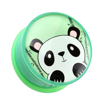 Bamboo Panda Single Flared Ear Gauge Plug
