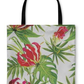 Tote Bag, Gloriosa Exotic Tropical Flowers And Palm Leaves Pattern