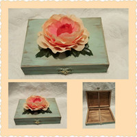Rustic Romantic Robin's Egg Blue Spring Wedding Ring Bearers Box Blush, Peach, Coral Flower Divided HIS HERS