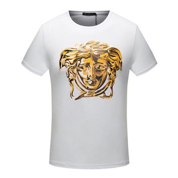 Day-First™ Versace Bronzing Embroidery Woman Men Fashion Scoop Neck Tunic Shirt Top Blouse