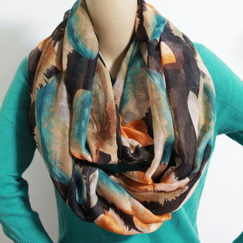 Watercolor Feather Infinity Scarf Light Weight and Silky Bird Feather Print Scarf White Circle Infinity Scarf