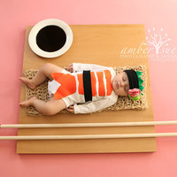 Sushi Halloween Costume, Sushi Costume with Headband, Baby Halloween Costume, Long Sleeve Sushi Costume