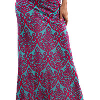 Damask Skirt - Mint and Fuchsia