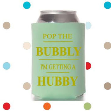 Pop the Bubbly I'm Gettting A Hubby can coolers, cute bachelorette party favors, sparkly gold can holder sweaters, girls weekend party, fun