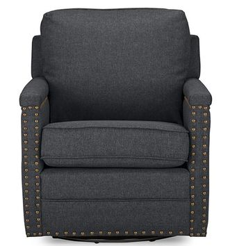 Baxton Studio Ashley Modern and Contemporary Classic Retro Grey Fabric Upholstered Swivel Armchair with Bronze Nail heads Trim Set of 1