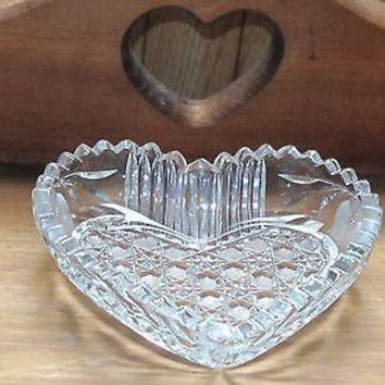 American Brilliant Period Cut Glass heart shape dish  Antique abp Valentine