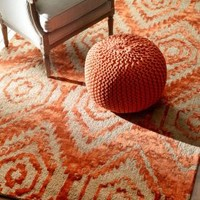 Rugs USA Epiphany Jute and Faux Silk Ikat EU14 Rust Rug