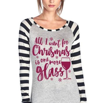 ALL I WANT FOR CHRISTMAS WINE LONG SLEEVE T