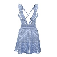 Womens Sexy Midi Dress Deep V Neck Striped Party Dresses Backless Club Cocktail Mini Dress Vestidos