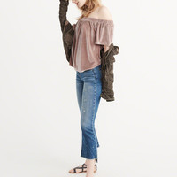 Womens Off-The-Shoulder Velvet Top | Womens New Arrivals | Abercrombie.com